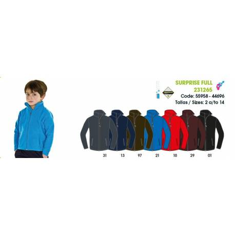 Forro polar para niños, SURPRISE FULL JUNIOR Techpolar Polar Fleece